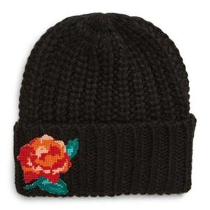 Free People NWT Black Everything Rosy Beanie
